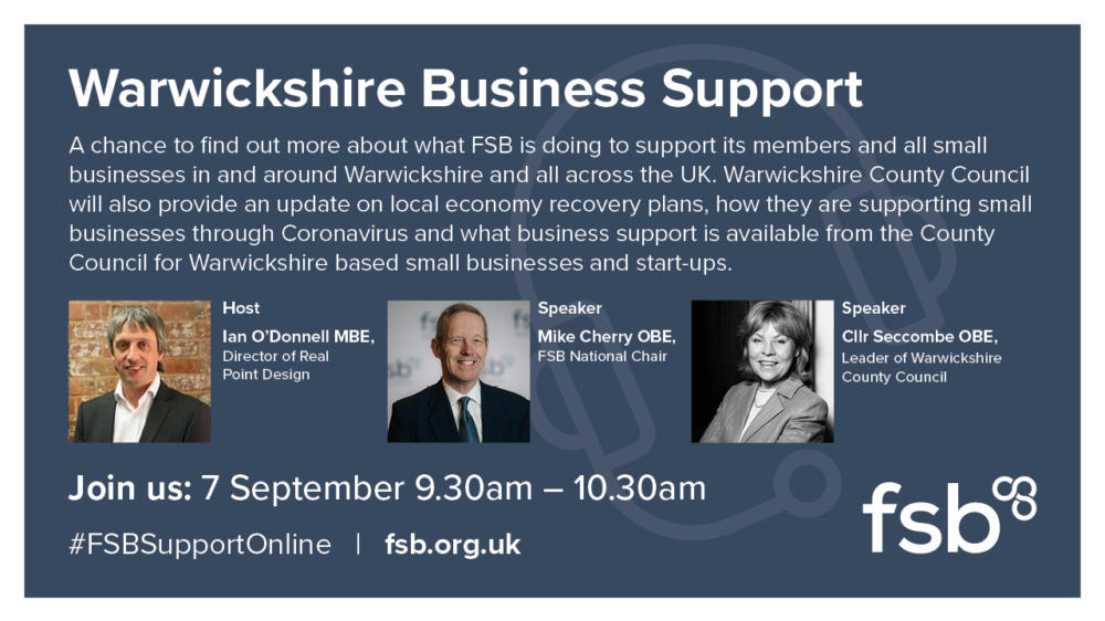 Cllr Seccombe, Ian O'Donnell & Mike Cherry - FSB panel for Warwickshire Business Support