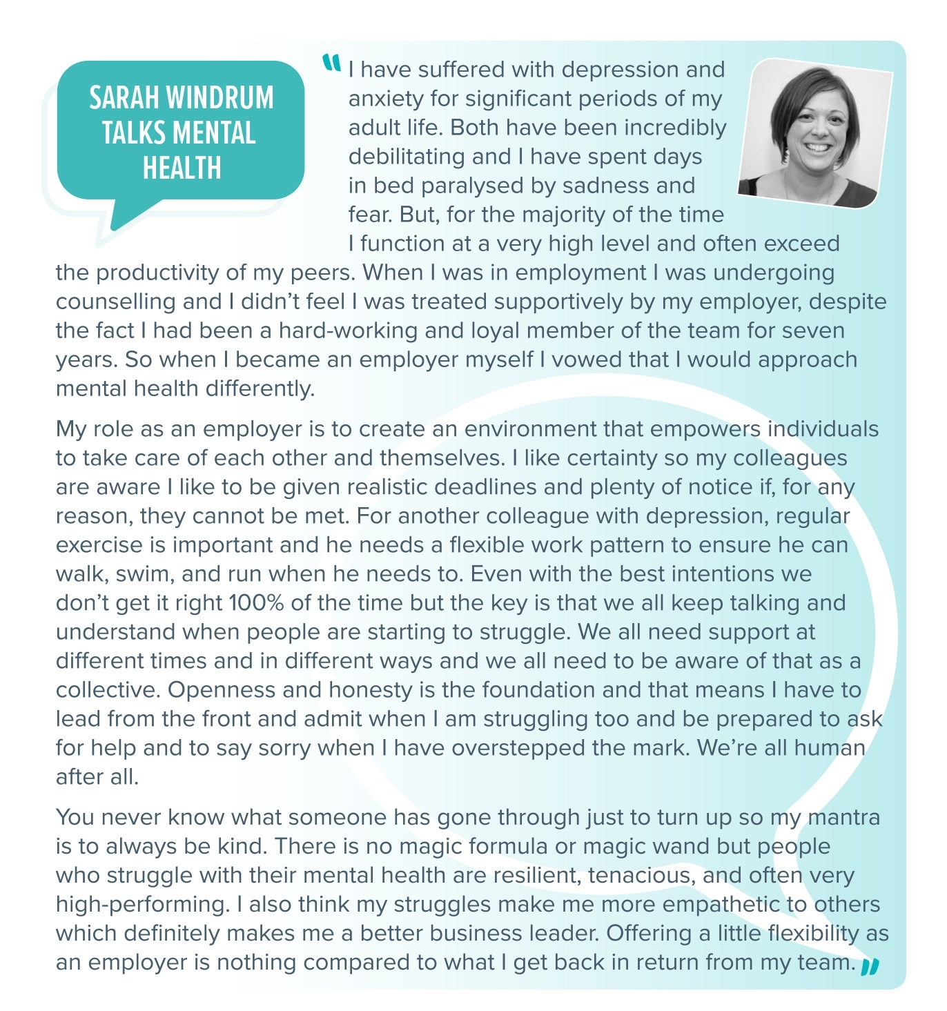 Sarah Windrum talks mental health
