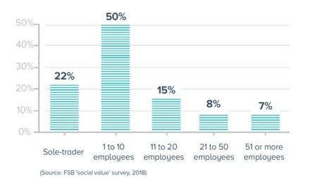 <b>Size distribution of veteran run small businesses</b>