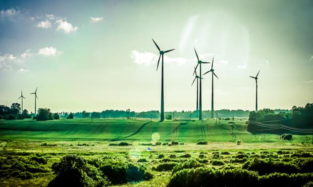 Three wind turbines in the countryside